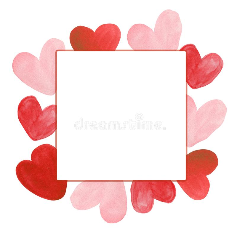 Watercolor Hand drawn Hearts Frame Background stock illustration