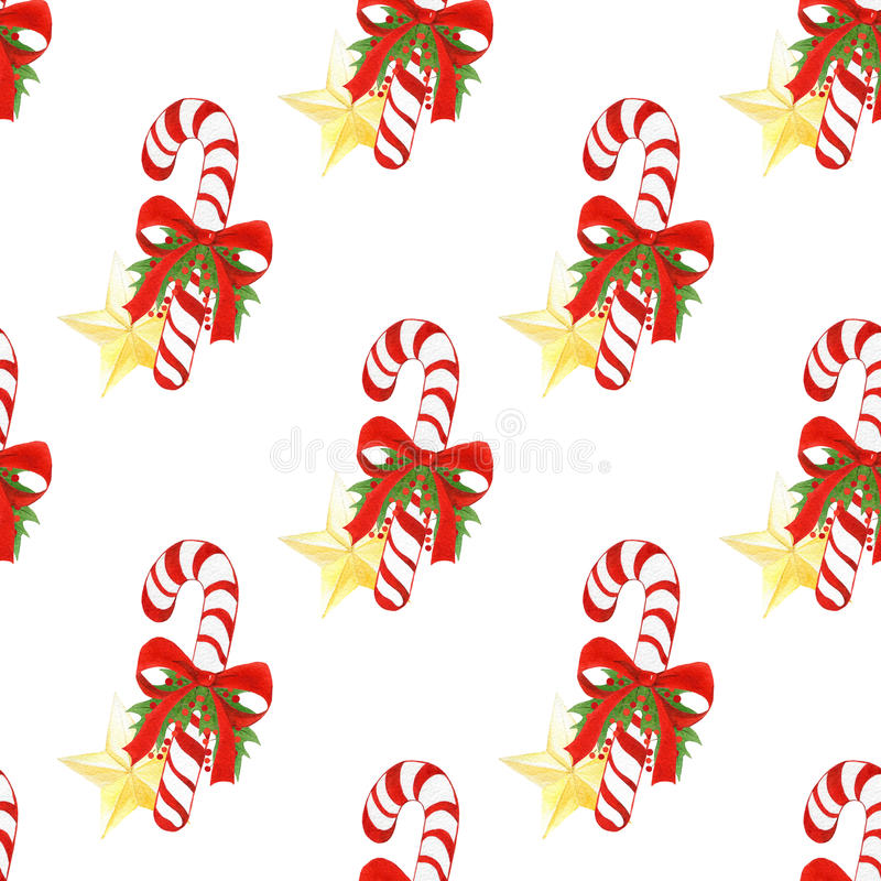 Watercolor hand drawn holiday pattern with Christmas candy canes,golden stars,bows,holly leaves and berries. seamless vector illustration