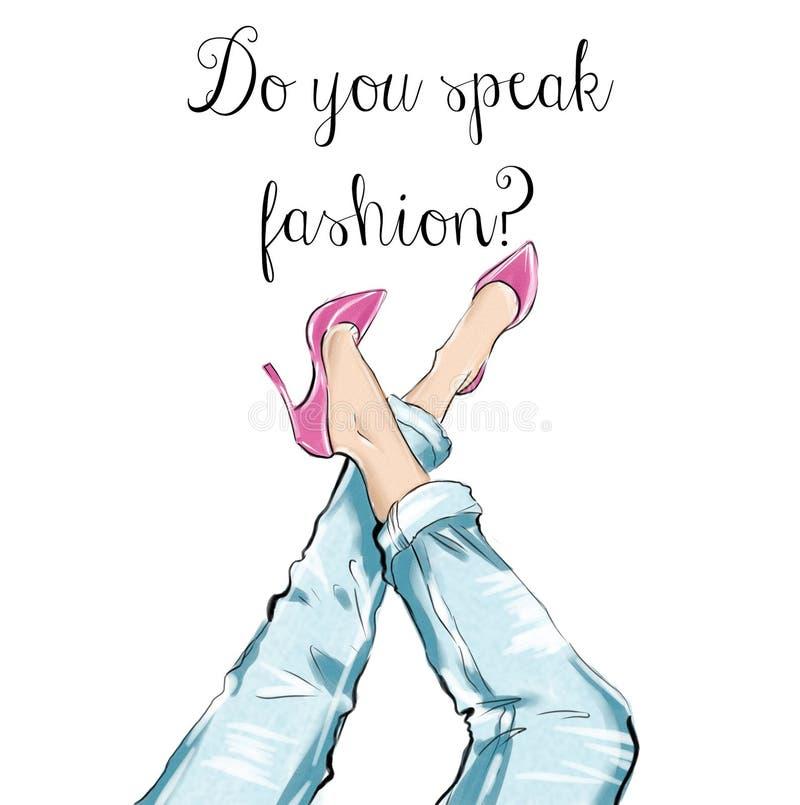 Watercolor hand drawn illustration - girl wearing heels and blue denim jeans. Girl wearing heels and blue denim jeans royalty free illustration