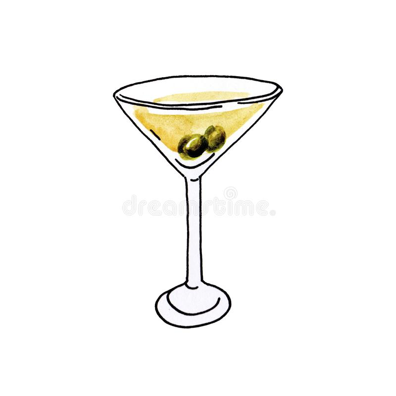 Watercolor hand drawn illustration glass of martini with olives on white background. stock illustration