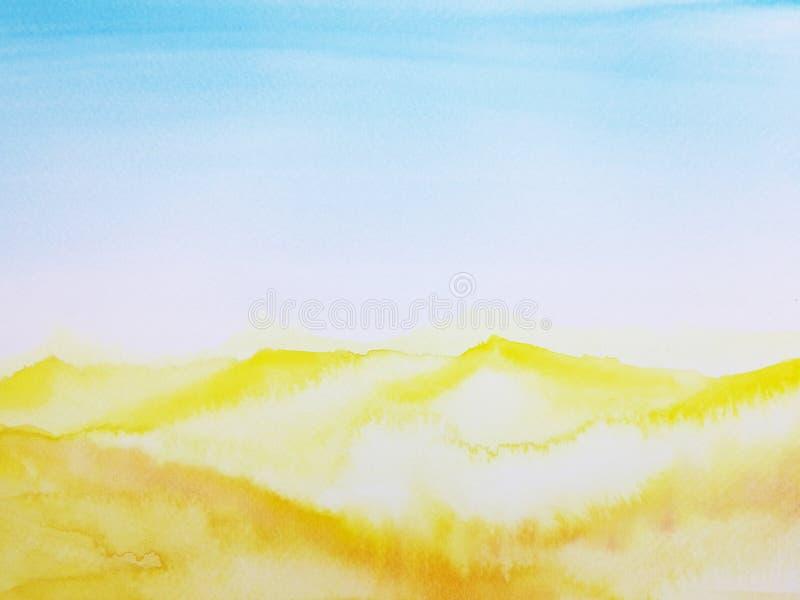 Watercolor hand drawn illustration landscape desert stock illustration