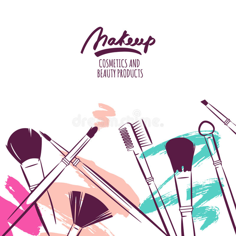 Watercolor hand drawn illustration of makeup brushes on colorful grunge background. vector illustration