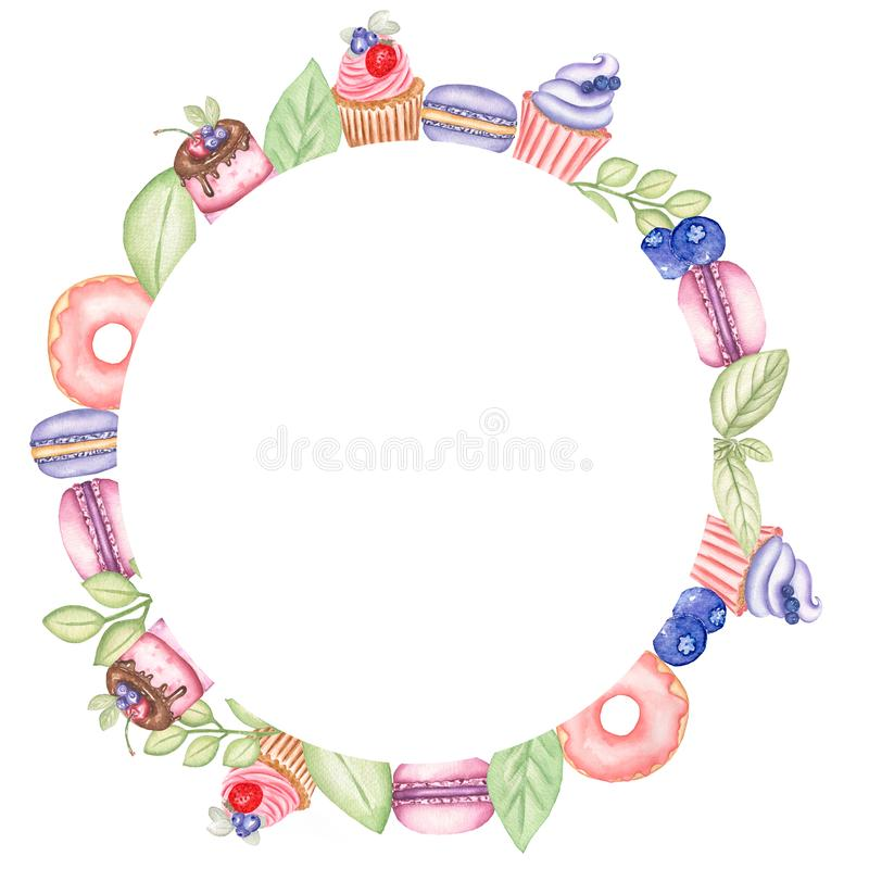 Watercolor hand drawn illustration set of a wreath of sweets,donuts,macaron, candies,cupcake, mini cake,berries,mint leaf. vector illustration