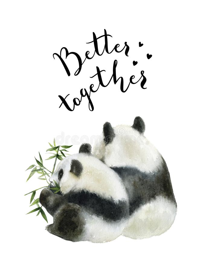 Panda bear watercolor hand draw illustration isolated on white background. vector illustration