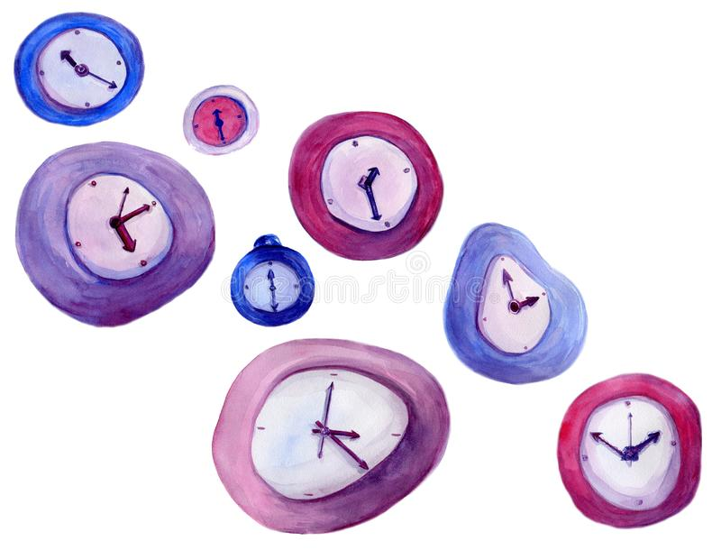 Watercolor hand drawn illustration of vintage fantasy clock in red, blue, pink, violet, purple colors. stock photography