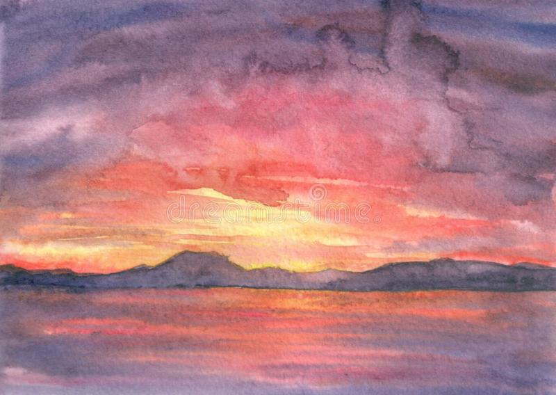 Watercolor hand drawn landscape, seascape. Red, pink sunset on the sea. Bay, sunlight, sky. Hand draw background stock photo