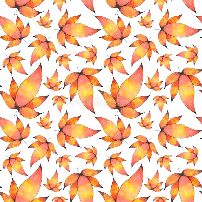 Watercolor Hand drawn Leaves Seamless Pattern Background. Seamless Watercolor Pattern of hand drawn hearts illustration perfect for cards, diy, fabric, wrapping stock illustration