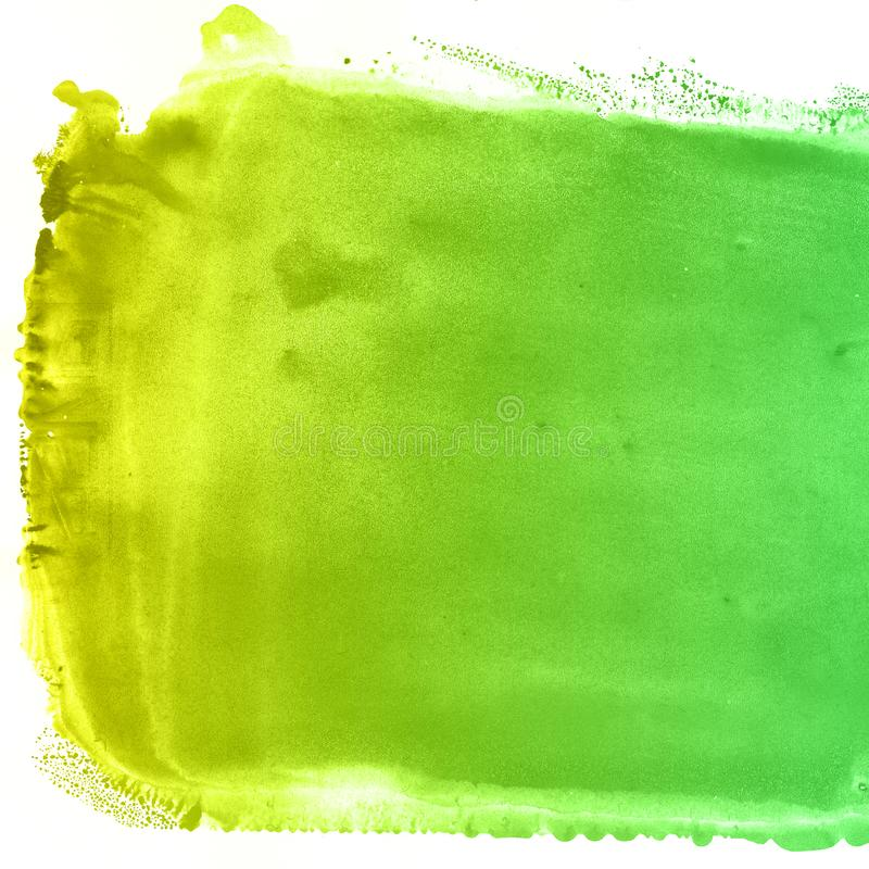 Abstract hand drawn yellow and green watercolor background, raster illustration royalty free illustration