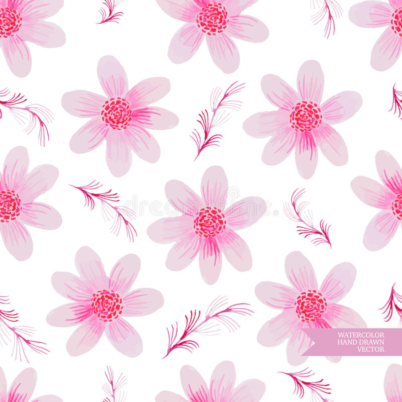 Watercolor hand drawn and painted seamless flower pattern. stock illustration