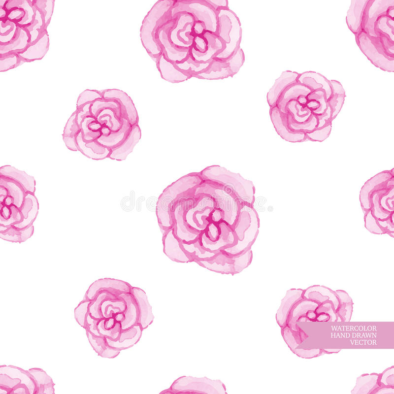 Watercolor hand drawn and painted seamless rose pattern. vector illustration