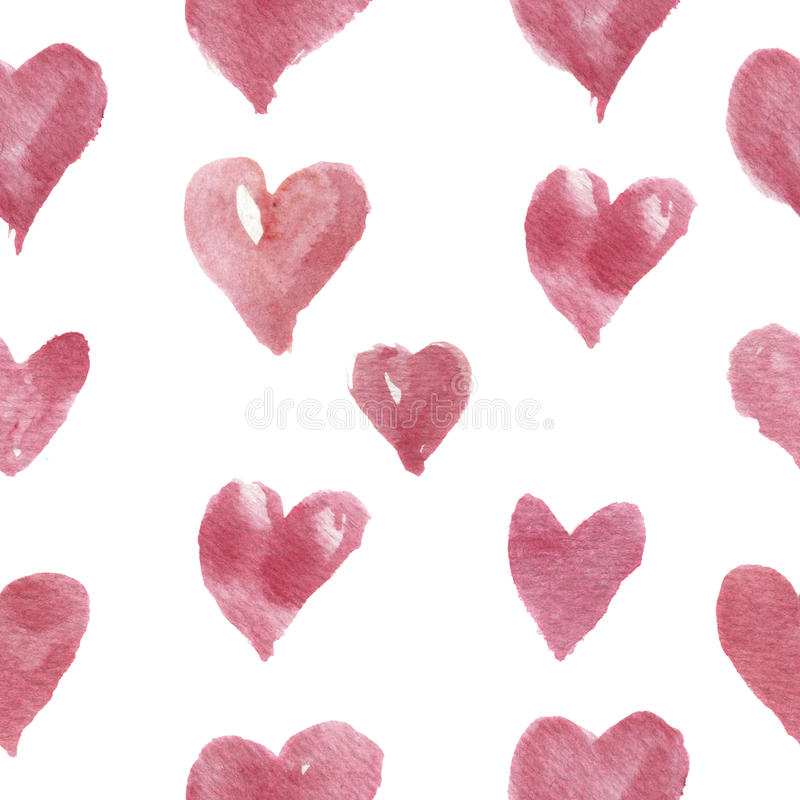 Watercolor hand-drawn pattern with hearts. For design, background and textile. Watercolor pattern with hearts. For design, background and textile royalty free stock photo