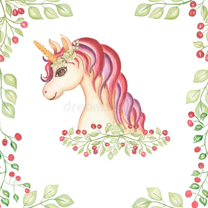Watercolor hand drawn pink and violet unicorn card illustration with berrires, fairy tale animal creature, magical  clip art, royalty free illustration