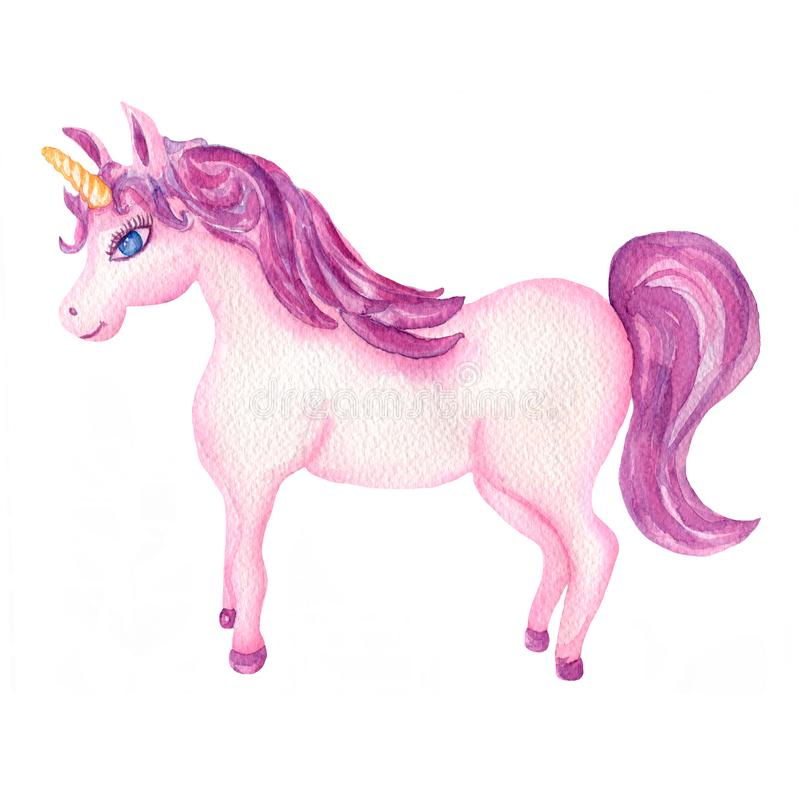 Watercolor hand drawn pink and violet unicorn illustration, fairy tale animal creature, magical  clip art, isolated on white vector illustration
