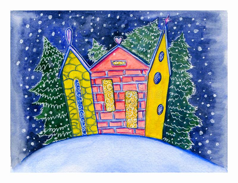 Watercolor hand drawn postcard with little cute colorful town and snowy fir on the winter decorative background. royalty free illustration