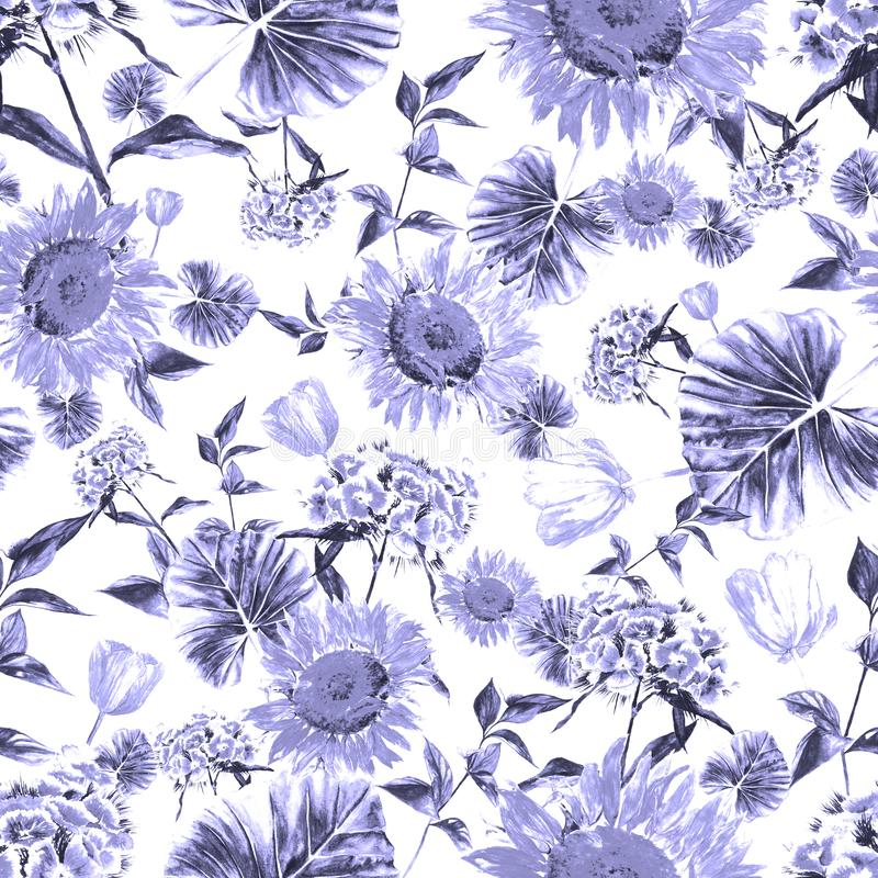 Watercolor hand drawn rustic pattern with flowers in vintage style royalty free stock photography
