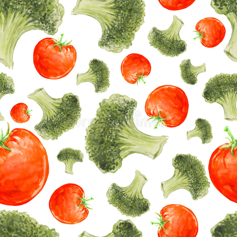 Watercolor hand drawn seamless pattern with broccoli and tomatoes. stock illustration