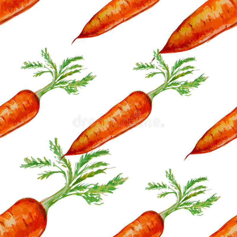Watercolor hand drawn seamless pattern with carrot. stock illustration