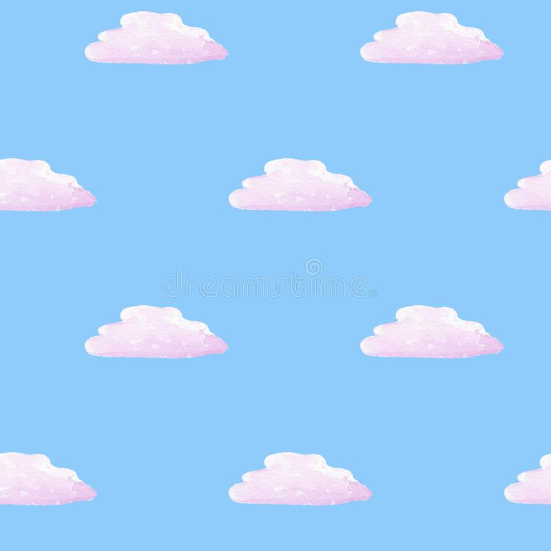 Watercolor hand drawn seamless pattern with clouds on the blue background. Can be used as card, decoration, creative poster, banner, paper, fabric, interior stock illustration
