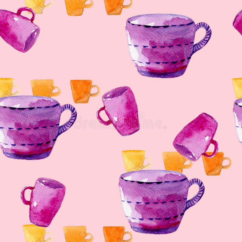 Watercolor hand drawn seamless pattern with different cup and mug on the white background. For used on card, wallpaper, poster, cotton fabric,banner, panel or stock photography