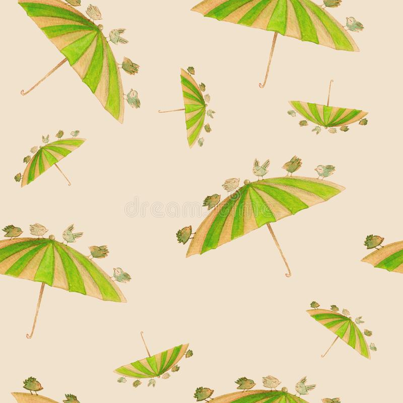 Watercolor hand drawn seamless pattern with green umbrella and bird on the light brown background. vector illustration