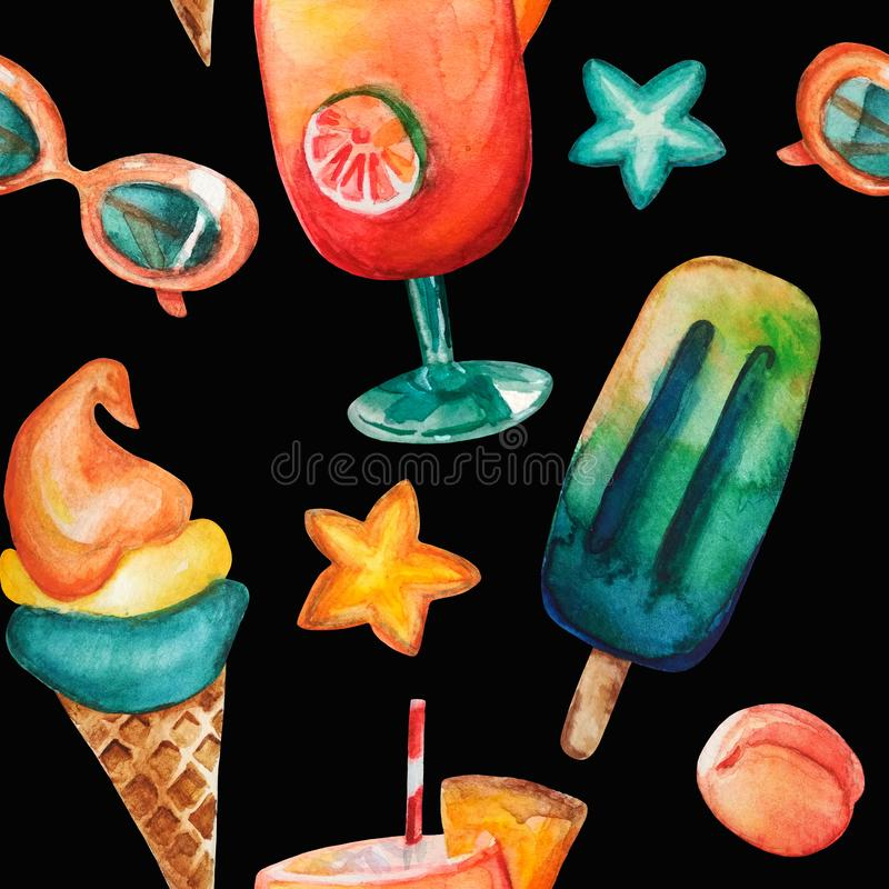 Watercolor hand drawn seamless pattern including cocktail with tube, ice cream, ice lolly, sunglasses, peach, orange and turquoise stock illustration