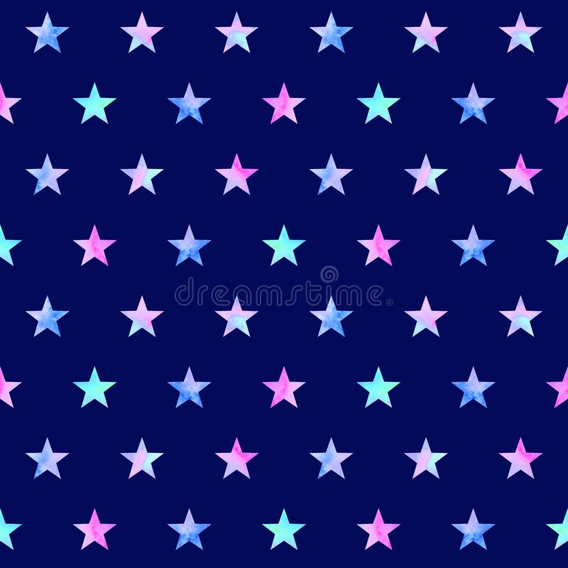 Watercolor seamless pattern with stars royalty free illustration