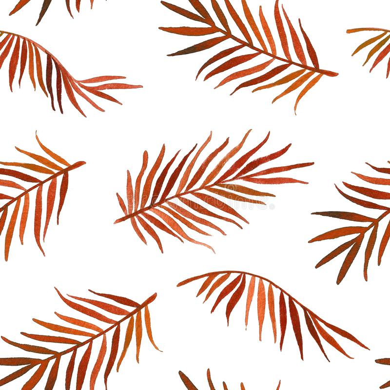 Watercolor hand drawn seamless pattern with palm leaves. Exotic background stock illustration