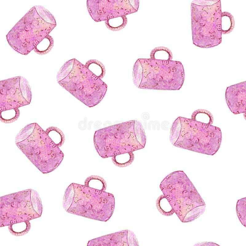 Pink mug on the white background watercolor hand drawn seamless pattern. Watercolor hand drawn seamless pattern with pink mug on the white background. For used stock images