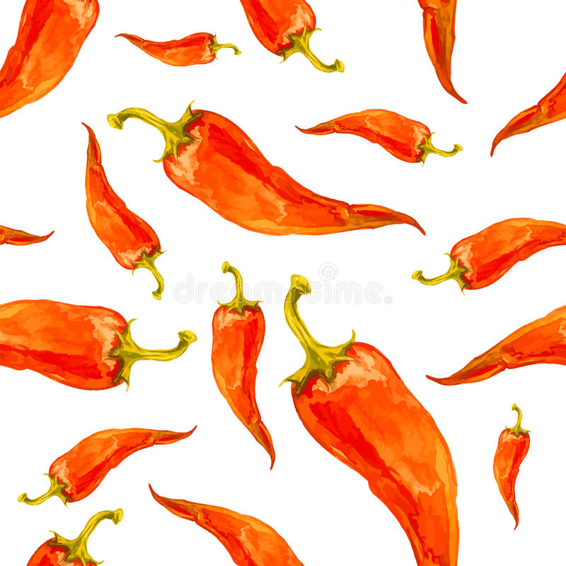 Watercolor hand drawn seamless pattern with red chilli pepper. stock illustration