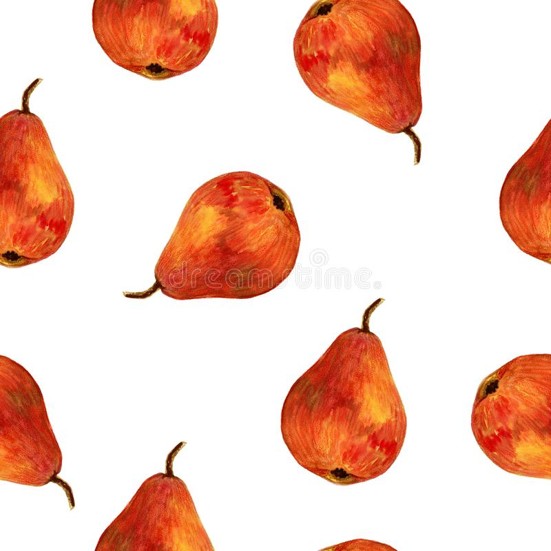 Watercolor hand drawn seamless pattern with red pear on the white background. For used on card, wallpaper, poster, banner, panel or frame stock illustration