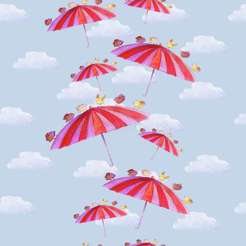 Watercolor hand drawn seamless pattern with umbrella, bird and clouds, on the blue background. royalty free illustration