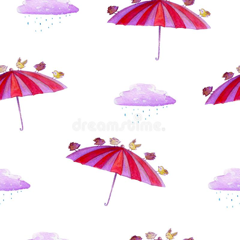 Watercolor hand drawn seamless pattern with umbrella, bird and clouds, on the white background. vector illustration