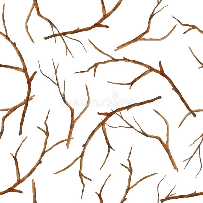 Free Watercolor Hand Drawn Seamless Pattern With Brown Branches Twigs Without Leaves. Autumn Fall Winter Illustration, Wood Stock Photo - 191512960