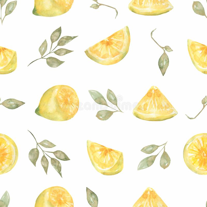 Watercolor hand drawn Seamless pattern. Yellow citrus fruit fruit. Sicily Lemon, leaves and flowers. Tropical. Illustration vector illustration
