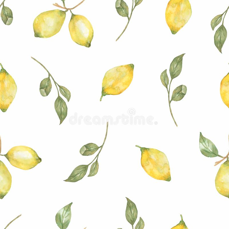 Watercolor hand drawn Seamless pattern. Yellow citrus fruitfruit fruit. Sicily Lemon, leaves and flowers. Tropical illustration. Watercolor hand drawn Seamless vector illustration