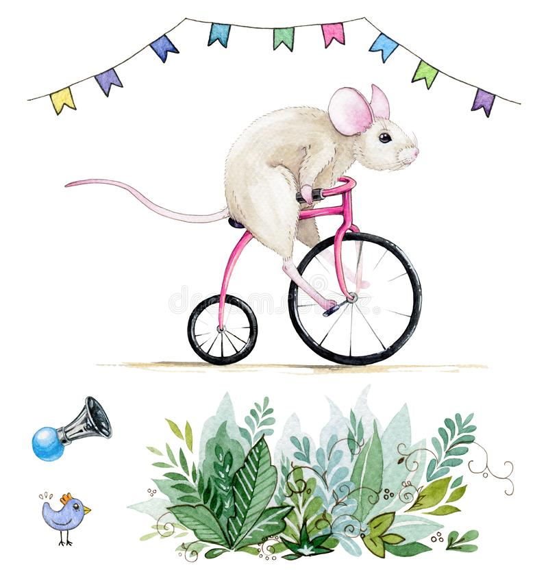 Watercolor hand drawn set with illustration of a funny mouse riding a bicycle under the flags and some party elements. stock illustration