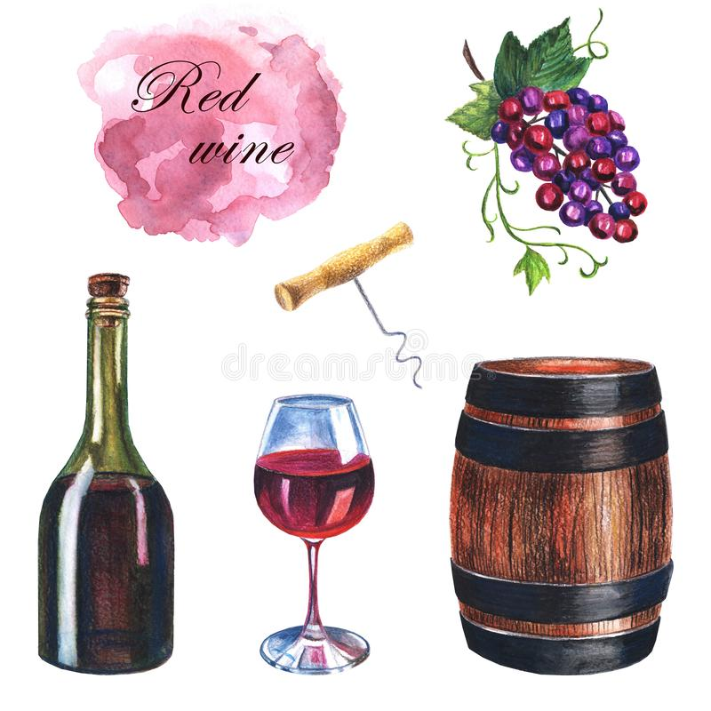Watercolor hand drawn set of red wine on a white background stock illustration