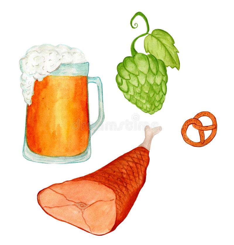 Watercolor hand drawn set of traditional Oktoberfest beer, meat, pretzels and hop. royalty free illustration