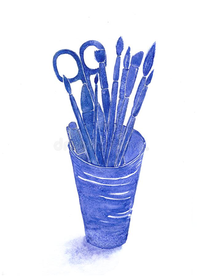 Watercolor hand drawn sketch illustration of glass with contours of stationery goods: pens, scissors, brushes. deep blue color. stock illustration