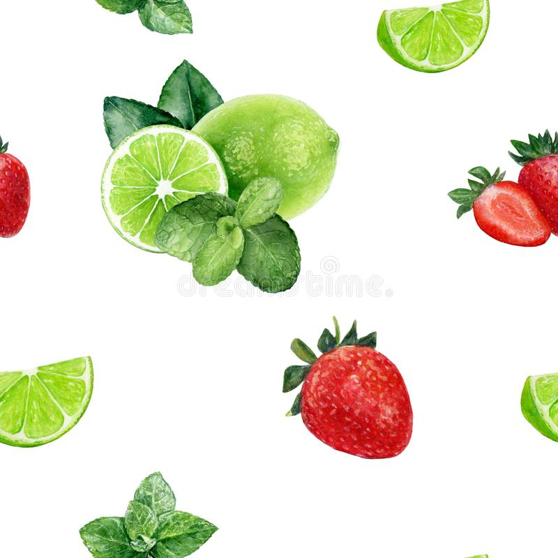 Watercolor hand drawn strawberry, lime, mint isolated seamless pattern. Seamless pattern with strawberry, lime, mint set. Hand drawn watercolor illustration royalty free stock images