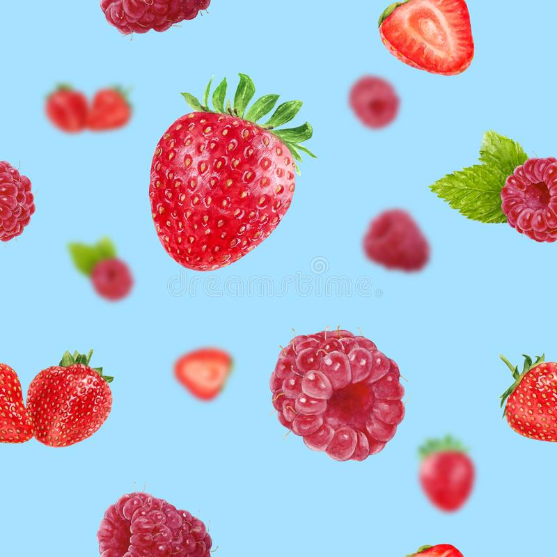 Watercolor hand drawn strawberry, raspberry isolated seamless pattern. Seamless pattern with strawberry, raspberry. Hand drawn watercolor illustration stock images