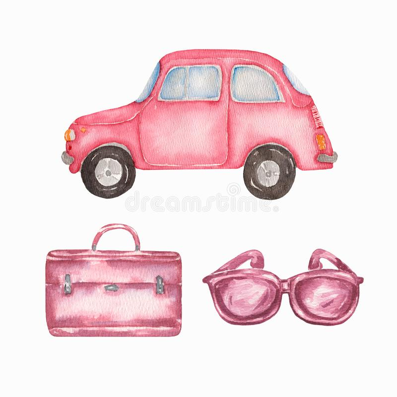 Watercolor hand drawn summer travel set. pink car,sunglasses,and pink suitcase. Isolated on white background vector illustration