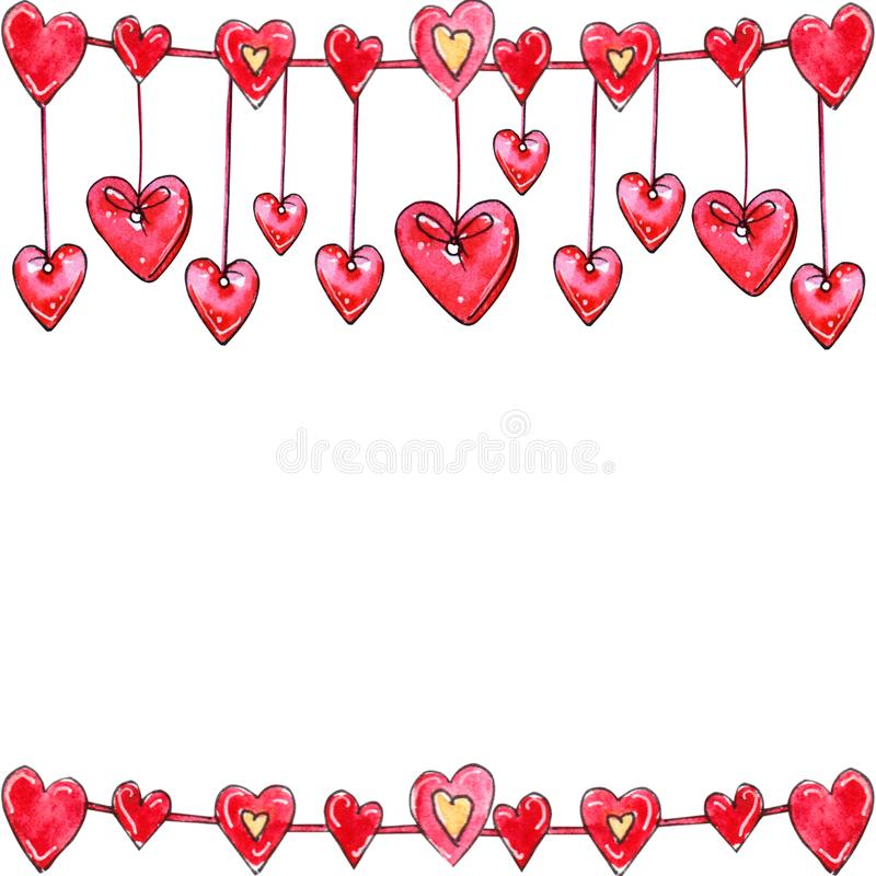 Watercolor hand drawn template of hearts garland royalty free illustration