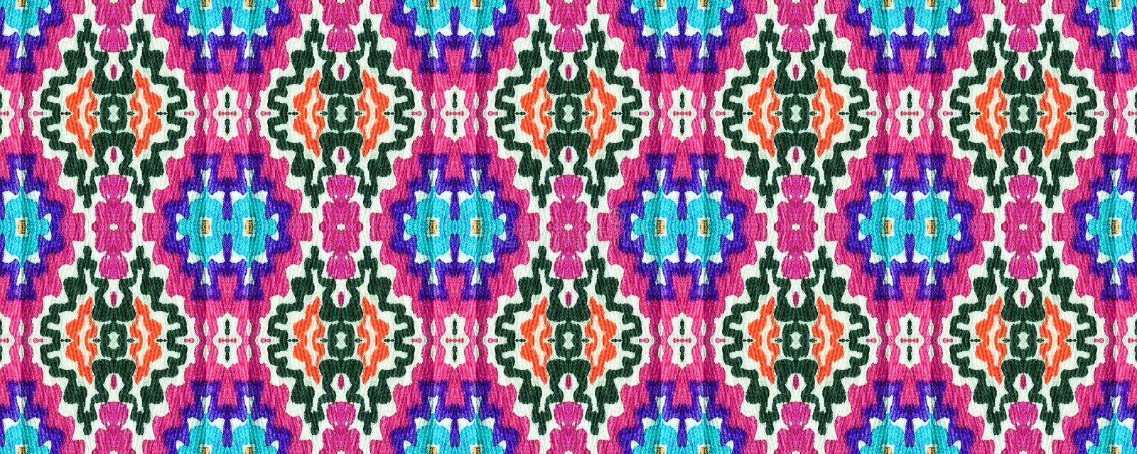 Ikat Seamless Pattern. Watercolor Hand Drawn Textile. Creative Navajo Ikat Background. Allover Organic Swimwear Design. Geo Ogee Tile.  Ogee Seamless Texture royalty free stock photos