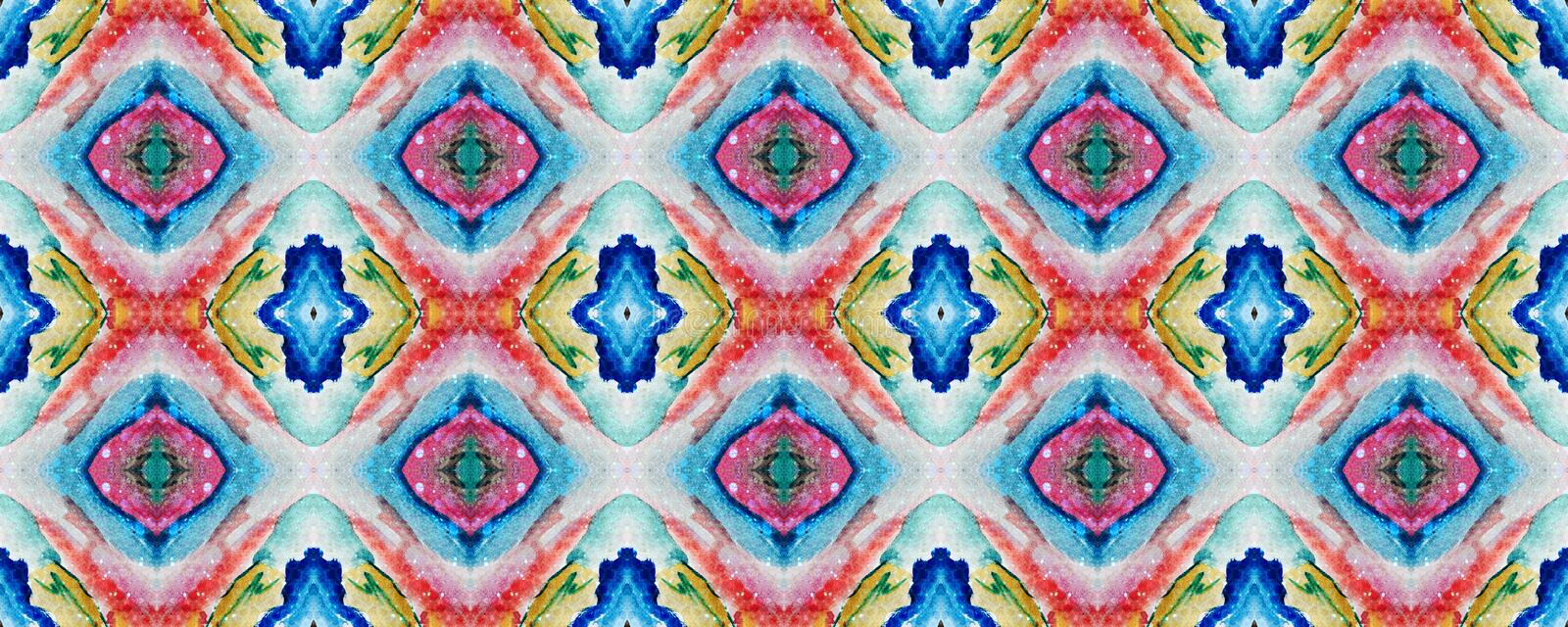 Ikat Seamless Pattern. Watercolor Hand Drawn Textile. Creative Navajo Ikat Background. Psychedelic Rainbow Aztec Geometric Textile Border Ogee Seamless Texture royalty free illustration