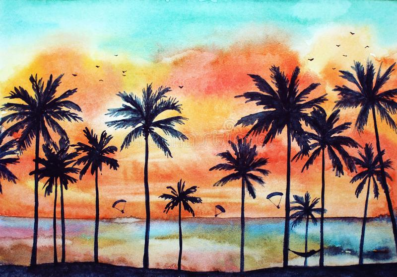 Watercolor tropical landscape stock images
