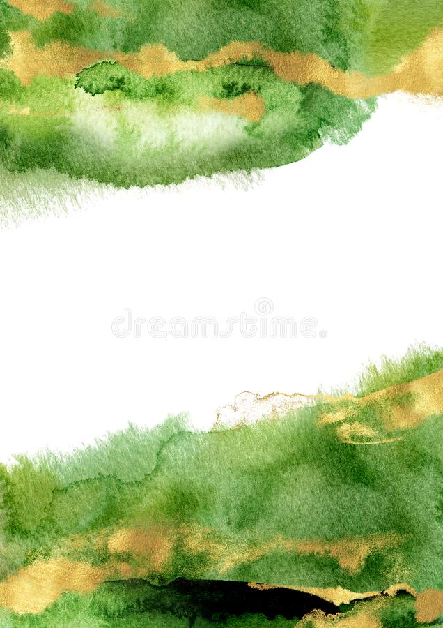 Watercolor hand drawn vertical A4 template. Green layout vector illustration