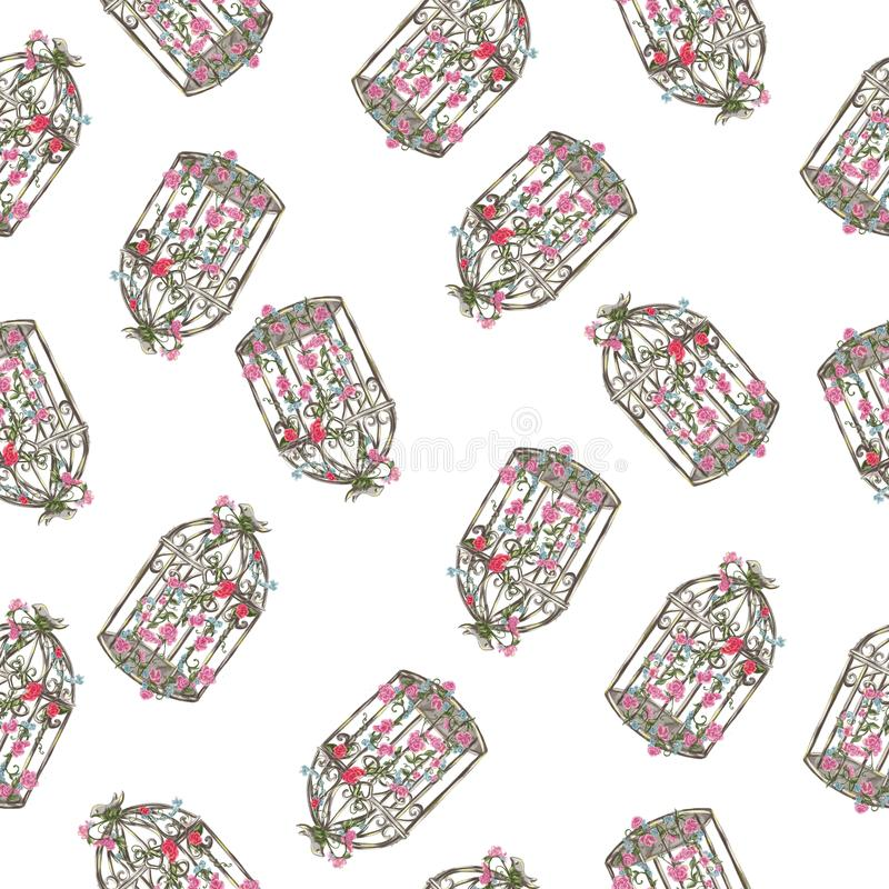 Watercolor hand drawn vintage bird cage seamless pattern royalty free illustration