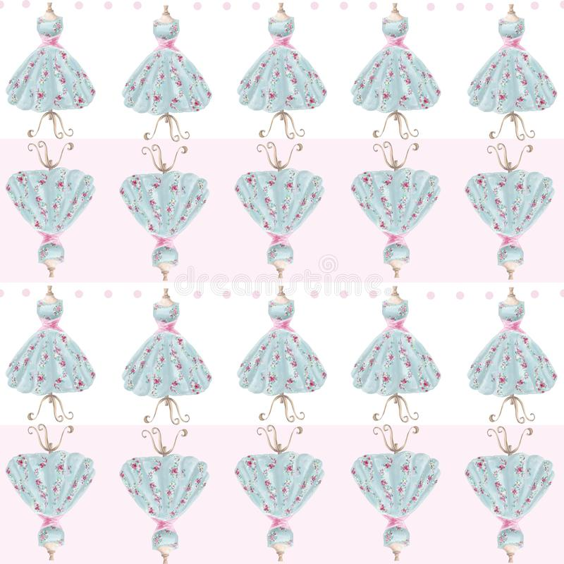 Watercolor hand drawn vintage dress seamless pattern stock illustration
