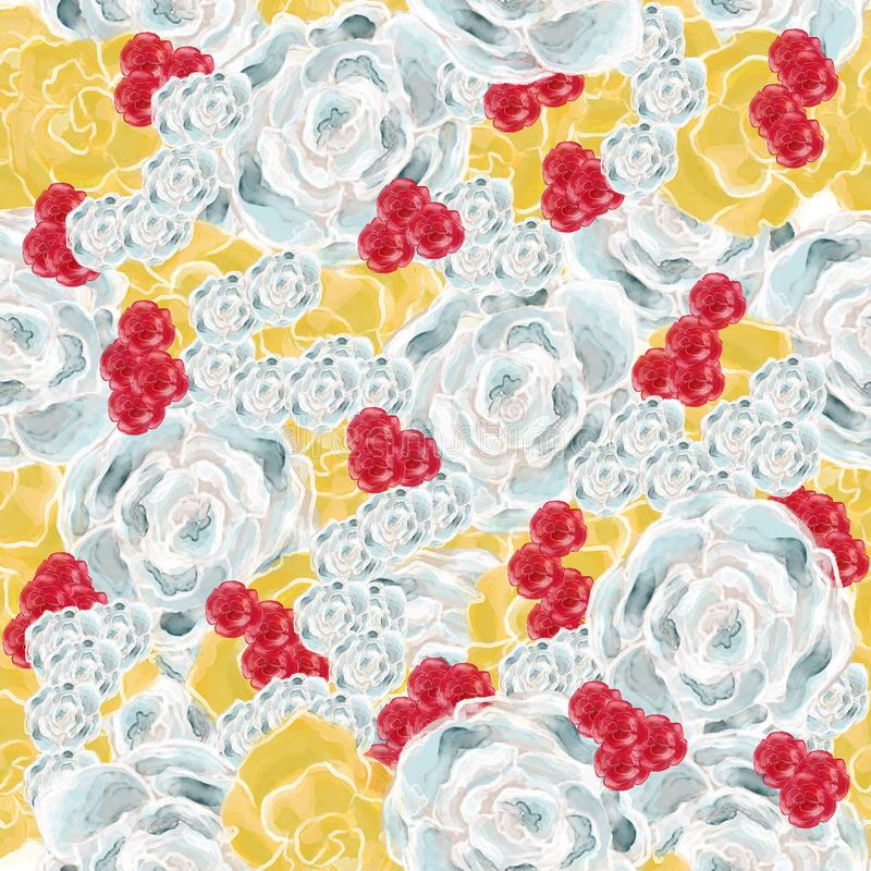 Watercolor hand drawn vintage flower  seamless pattern vector illustration